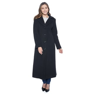 Anne Klein Women's Black Cashmere Blend Long Coat