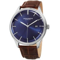 Akribos XXIV Men's Quartz Date Brown Leather Strap Watch - BLue