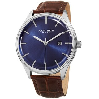 Akribos XXIV Men's Quartz Date Brown Leather Strap Watch - Blue