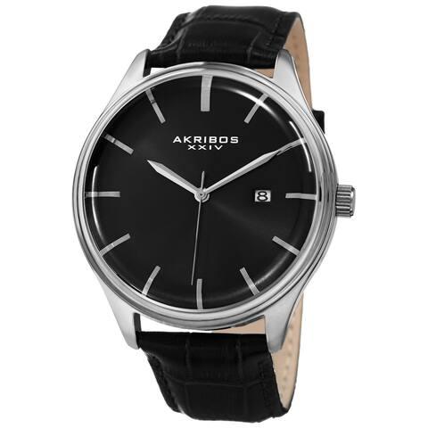 Akribos XXIV Men's Quartz Date Black Leather Strap Watch - silver