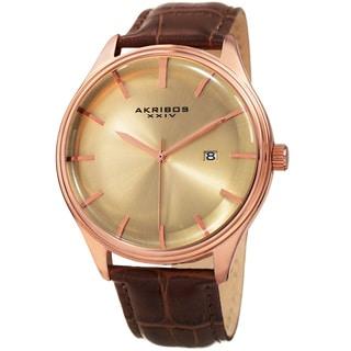 Akribos XXIV Men's Quartz Date Brown Leather Strap Watch