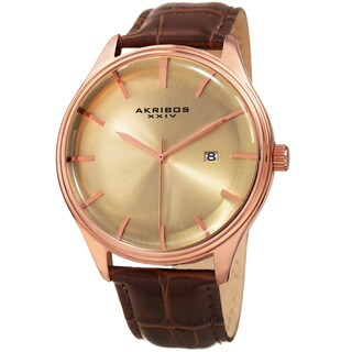 Akribos XXIV Men's Quartz Date Brown Leather Strap Watch