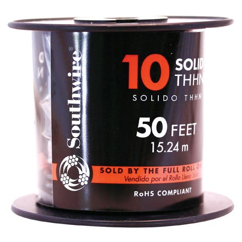 Southwire 11597217 50' 10 Gauge Solid Red Thhn Wire