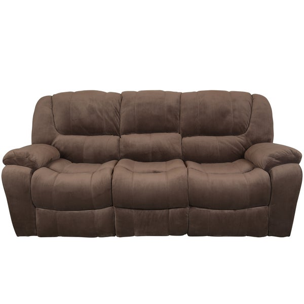 Porter Elliott Cocoa Brown Dual Reclining Deep Pile Microfiber Sofa Free Shipping Today