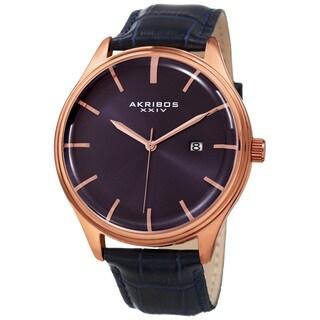 Akribos XXIV Men's Quartz Date Blue Leather Strap Watch