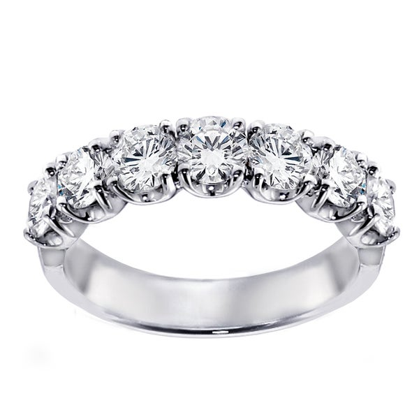 Platinum 1 1/2ct TDW Diamond 7-Stone Wedding Band
