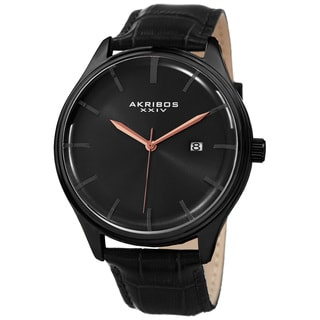 Akribos XXIV Men's Quartz Date Black Leather Strap Watch