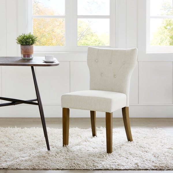 Madison Park Hayes Cream Tufted Back Dining Chair 2 Piece Set