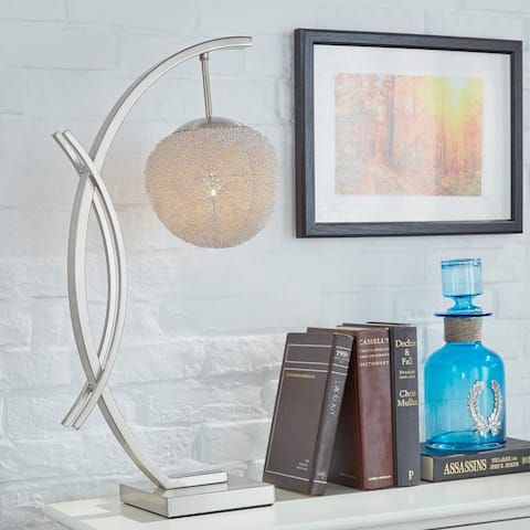 Zaida Nickel Finish Sphere Table Lamp by iNSPIRE Q Bold - Table Lamp