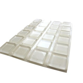 Rok Hardware Large Clear Square Self-Adhesive Rubber Bumpers 1-inch x 0.18-inch 25 Pack