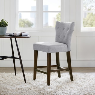 Madison Park Hayes Grey Tufted Back Counter Stool