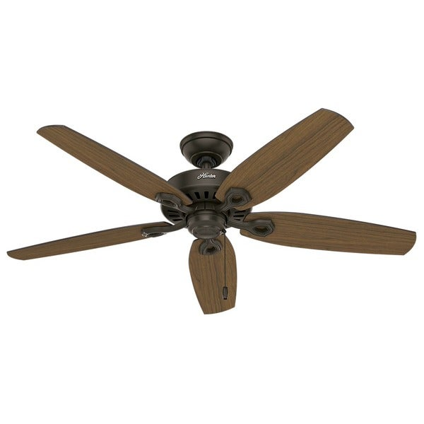 """Hunter 52"""" Builder Outdoor Ceiling Fan with Pull Chain, Damp Rated. Opens flyout."""