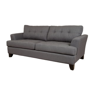 Porter Norwich Contemporary Charcoal Grey Polyester Sofa with Matching Throw Pillows