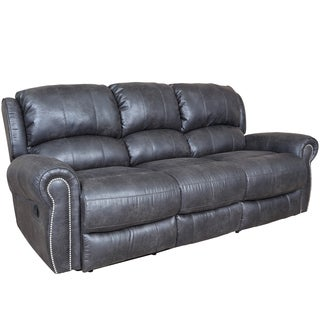 Porter Stirling Slate Grey Dual Reclining Sofa with Breathable Vegan Leather Alternative and Nailhead Trim