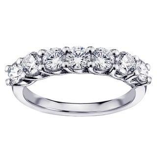 Platinum 1 1/3ct TDW Round Diamond Prong Set Wedding Band