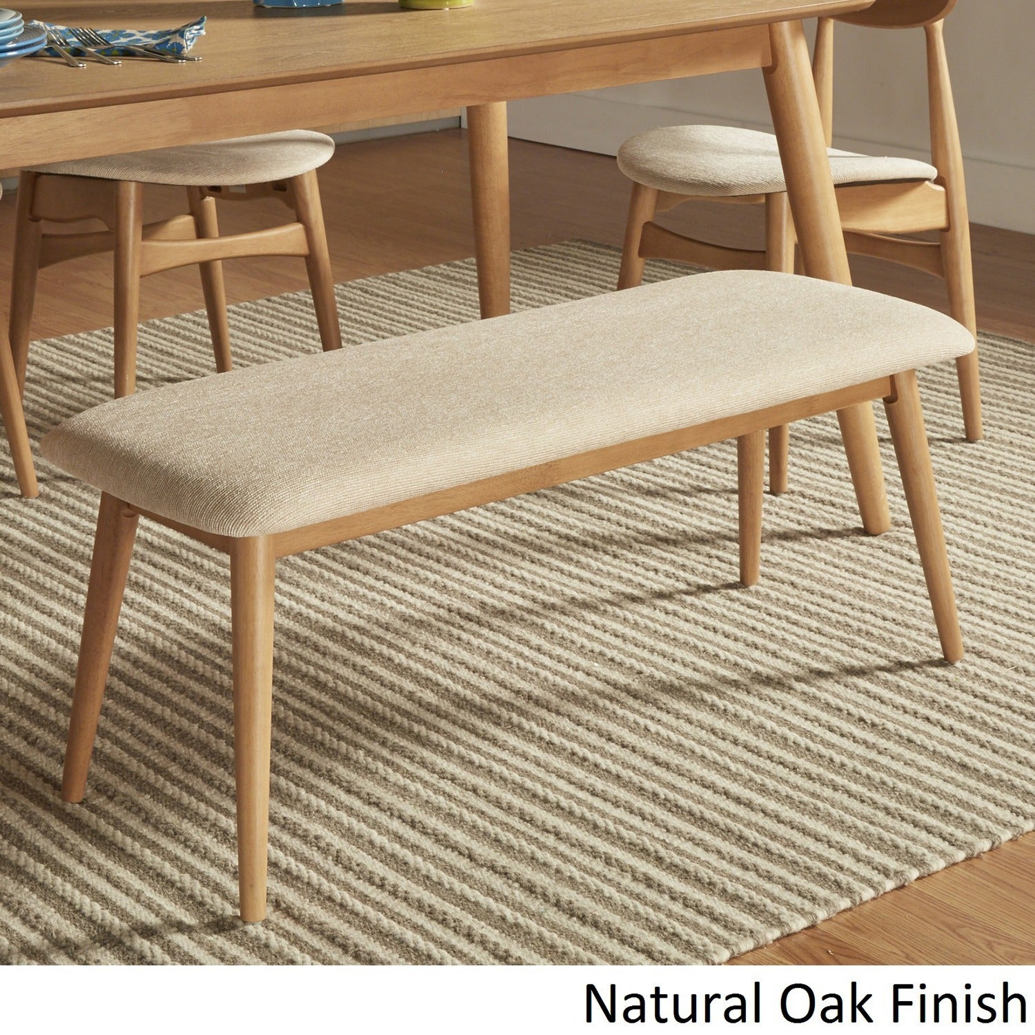 Norwegian Danish Modern Tapered Upholstered Dining Bench iNSPIRE Q