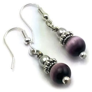 Mama Designs Handmade Sterling Silver Purple Dangle Earrings
