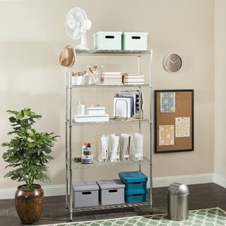 Safavieh Storage Collection Alpha 5 Tier Heavy Duty Commercial Chrome Wire Shelf