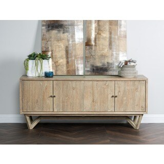Kosas Home Gretchen Natural and Grey Sustainable Plantation Grown PineWood 4-door Sideboard