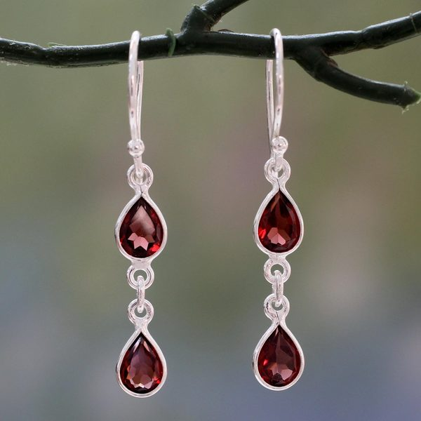 Handmade Sterling Silver X27 Mystical Femme Garnet Earrings India