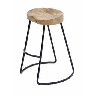 Wooden Saddle Seat Barstool with Metal Legs, Small, Brown and Black
