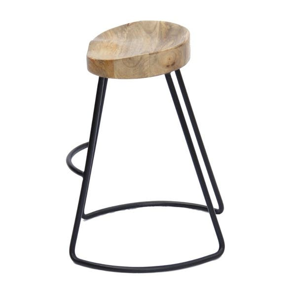 Wondrous Shop Wooden Saddle Seat Barstool With Metal Legs Small Cjindustries Chair Design For Home Cjindustriesco