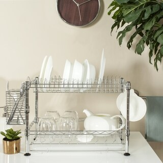 Safavieh Storage Collection Darina Adjustable Chrome Wire Dish Rack