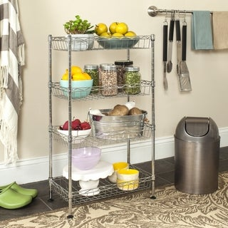 Safavieh Happimess Gaston 4 Tier Heavy Duty Commercial Chrome Wire Mini Rack