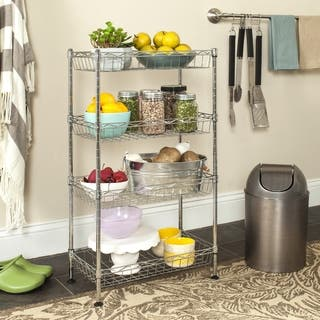 Safavieh Storage Collection Gaston 4-Tier Chrome Wire Mini Rack|https://ak1.ostkcdn.com/images/products/11769088/P18682077.jpg?impolicy=medium