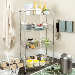 Safavieh Happimess Mario 4 Tier Heavy Duty Commercial Chrome Wire Basket Rack