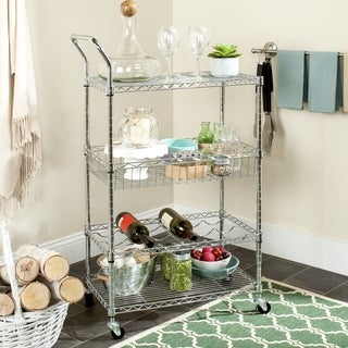 Safavieh Happimess Carmen 4 Tier Heavy Duty Commercial Chrome Wire Adjustable Cart