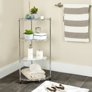 Safavieh Happimess Damaris 4 Tier Heavy Duty Commercial Chrome Wire Corner Rack