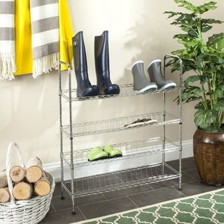 Safavieh Happimess Lidia Heavy Duty Commercial Chrome Wire Adjustable Shoe Rack