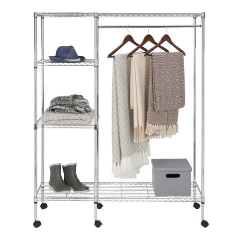 "Safavieh Storage Collection Betsy Chrome Wire Adjustable Garment Rack - 47.2"" x 17.7"" x 59.1"""