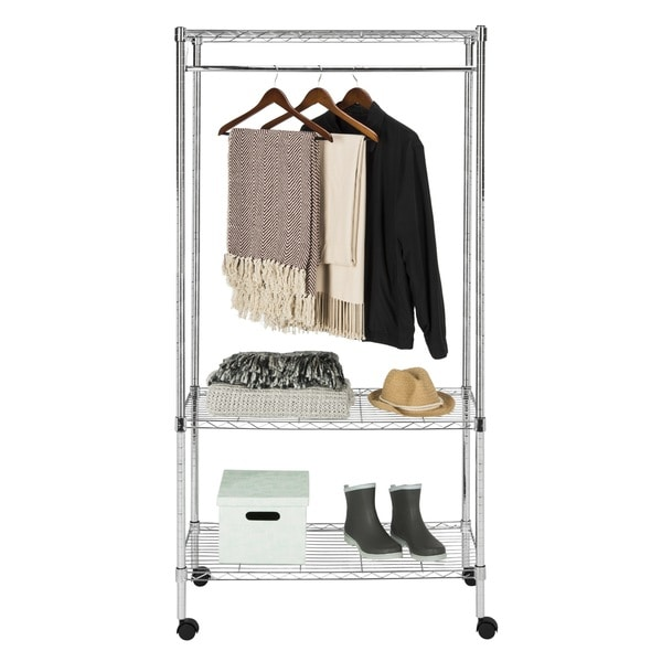 Safavieh Storage Collection Gordon Chrome Wire 3 Tier Garment Rack