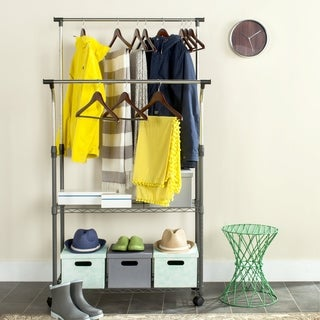 Safavieh Storage Collection Giorgio Chrome Double Rod Clothes Rack