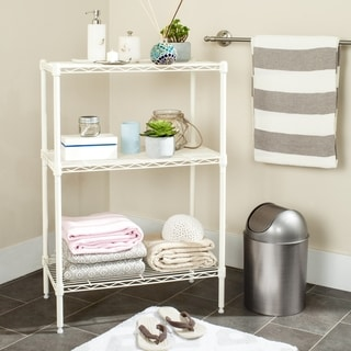 Safavieh Happimess Sierra Mini 3 Tier Heavy Duty Commercial Chrome Wire White Shelf
