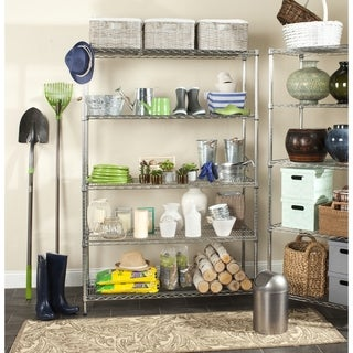 Safavieh Happimess Echo 5 Tier Heavy Duty Commercial Chrome Wire Shelf