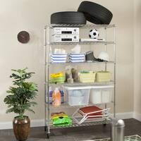 "Safavieh Storage Collection Juliet 6 Tier Heavy Duty Commercial Chrome Wire Shelf - 47.6"" x 18"" x 75"""