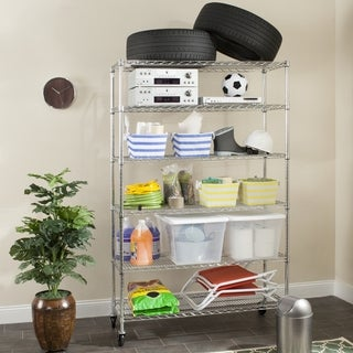 Safavieh Storage Collection Juliet 6 Tier Heavy Duty Commercial Chrome Wire Shelf