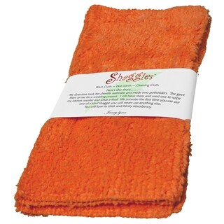 Shaggie 10x10-inch Orange Chenille Dish/ Washcloth (Set of 2)