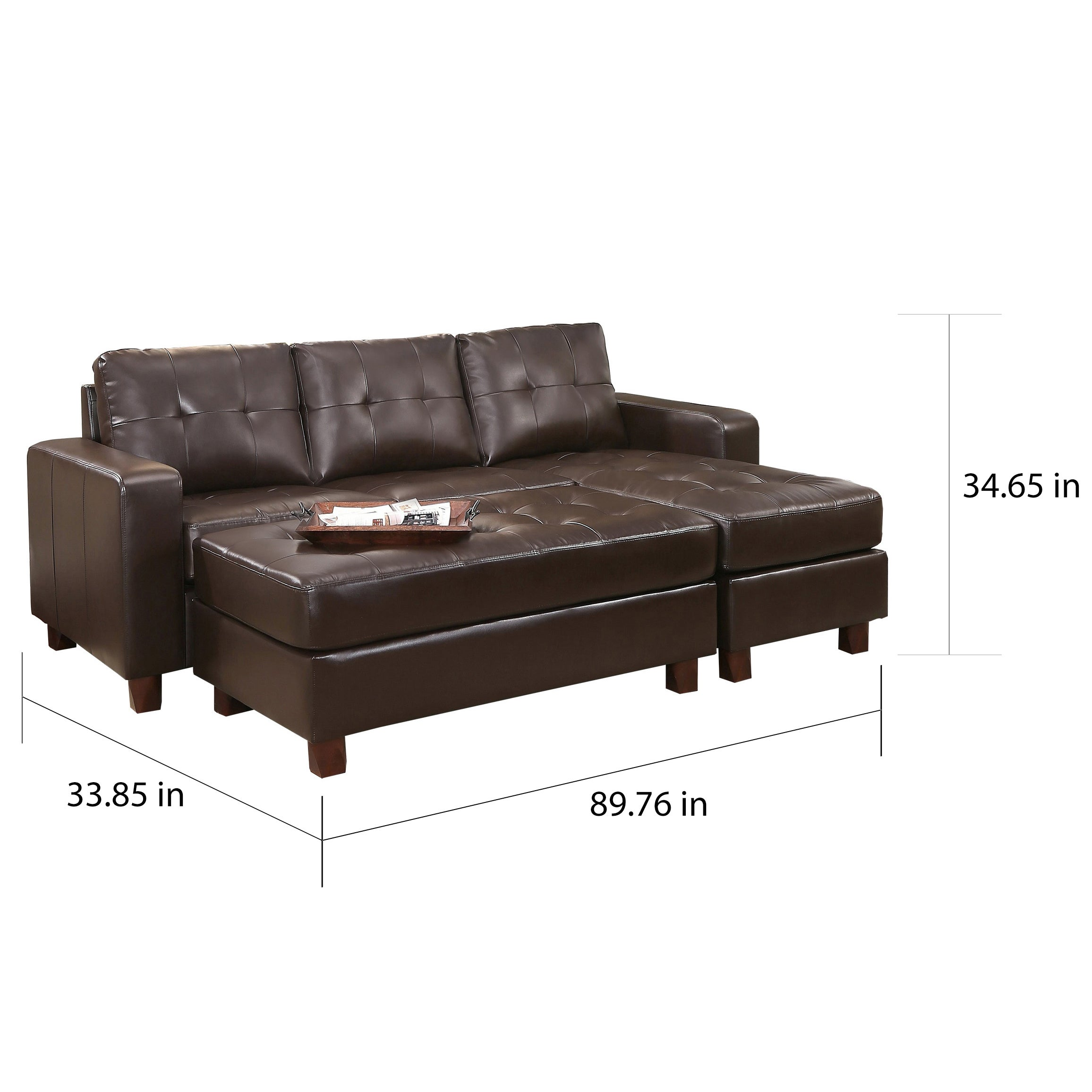Stupendous Abbyson Montgomery Leather Reversible Sectional And Ottoman Ncnpc Chair Design For Home Ncnpcorg