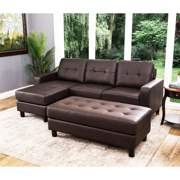 Sectional Sofa Connectors Canada: Shop Abbyson Montgomery Leather Reversible Sectional And