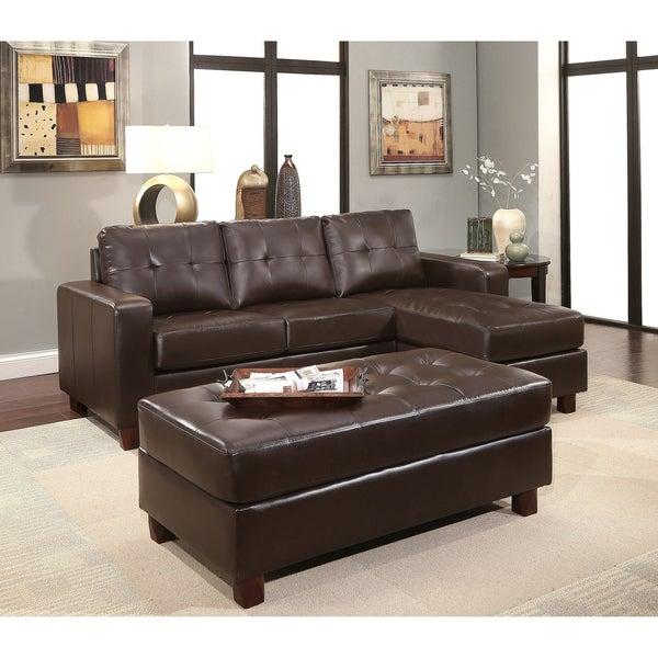Bon Abbyson Montgomery Leather Reversible Sectional And Ottoman