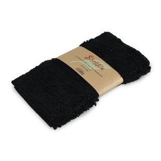Shaggie 10x10-inch Black Chenille Dish/ Washcloth (Set of 2)
