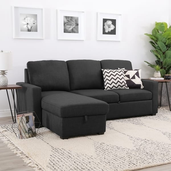 Incredible Shop Abbyson Newport Upholstered Sleeper Sectional With Alphanode Cool Chair Designs And Ideas Alphanodeonline