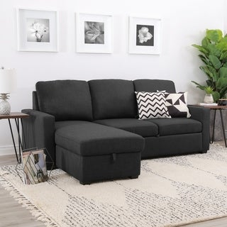 Abbyson Newport Upholstered Sleeper Sectional with Storage
