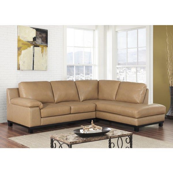 Abbyson Pearce Top Grain Leather Sectional Free Shipping