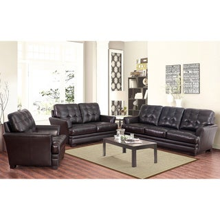 ABBYSON LIVING Divani Top Grain Leather 3 Piece Sofa, Loveseat, and Armchair