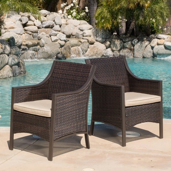 Riga Outdoor Wicker Dining Chair With Cushion Set Of 2